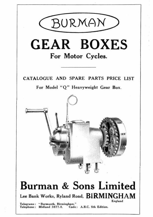 Burman Motorcycle Gear Box Manuals