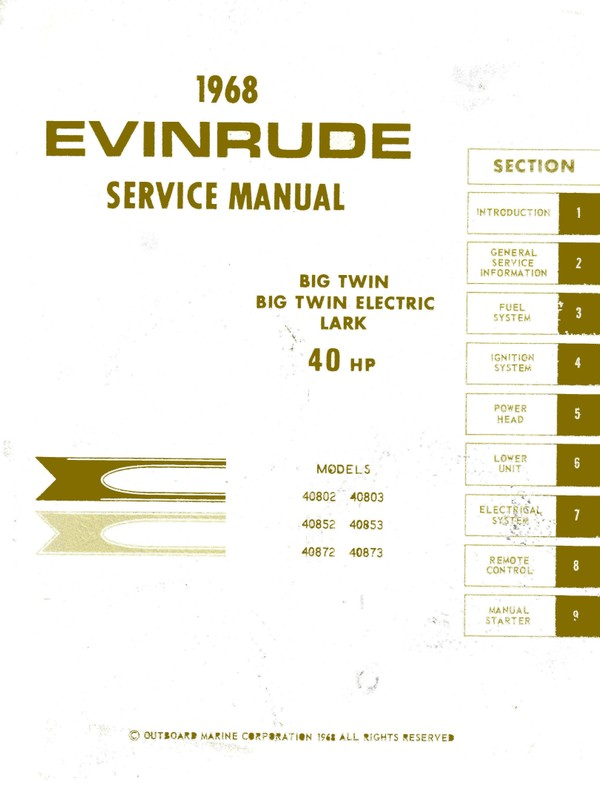 Evinrude 40 hp 1968 lark electric Start Service and repair Manual 1968 -40 Hp