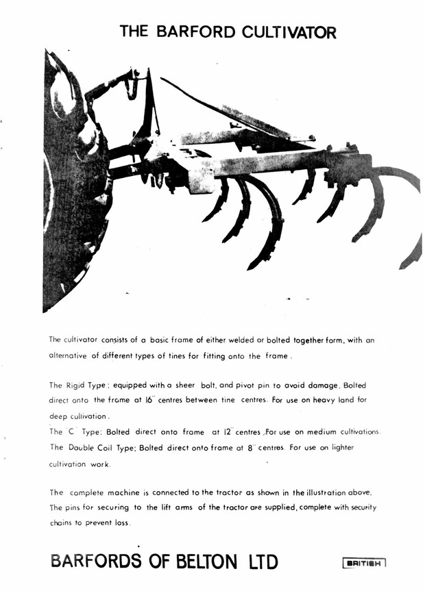 Barford Cultivator Illustrated Parts Manual