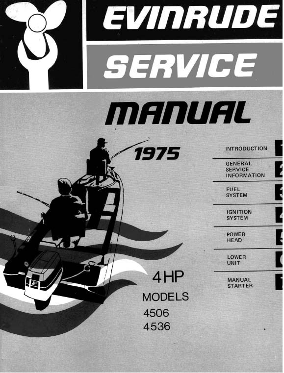 Johnson Evinrude Vintage Service Manual Model ..Evinrude 4hp 1975 4506 4536