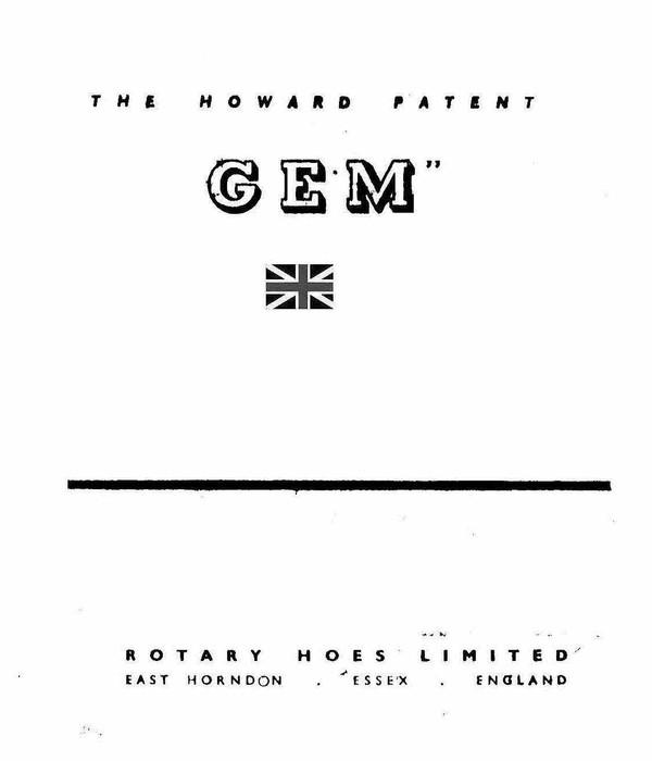 Villiers Howard Jem Rotivator Operation Maintenanceand illustrated Parts manual