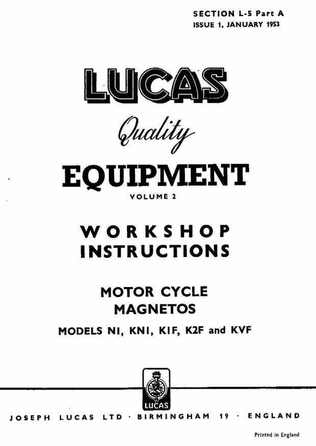 Lucas Electrical Motorcycle Workshop Instructions 1952 - 1961