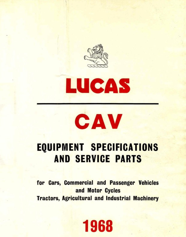 Lucas Electrical '1962 - '1968 Parts Catalog