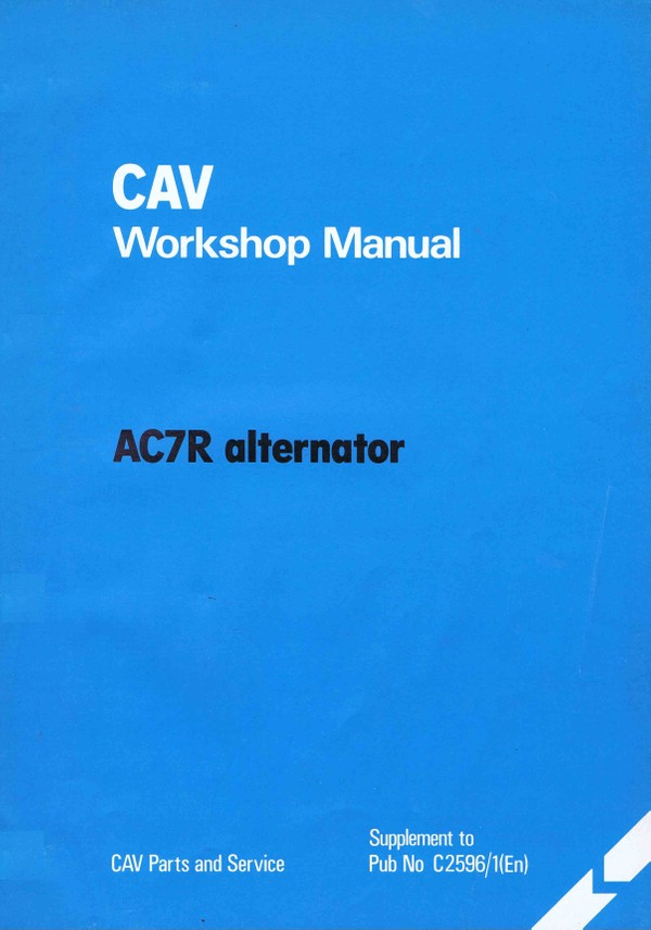 Cav AC7R Alternator workshop manual