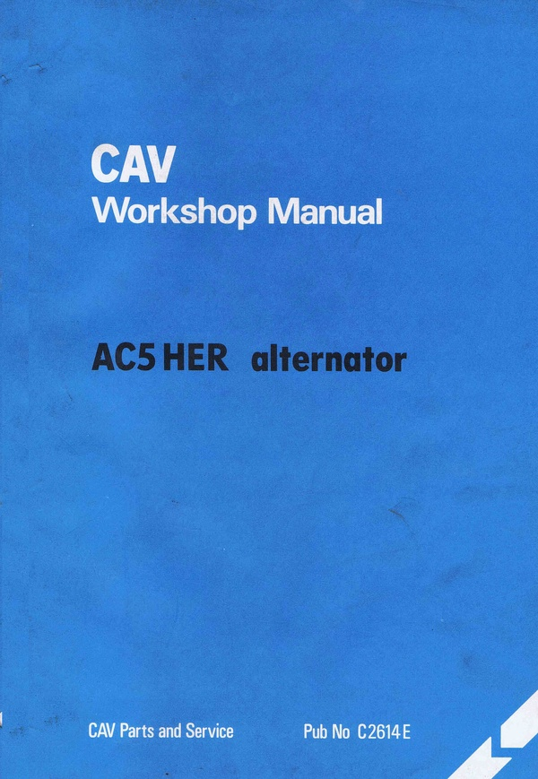 Cav AC5 HER Alternator workshop manual