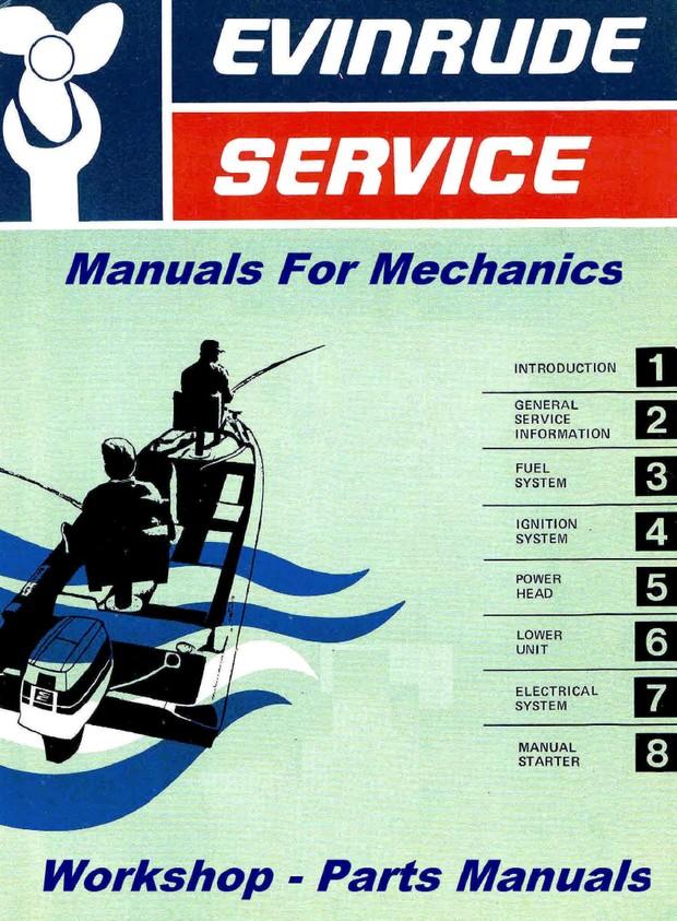 Evinrude Johnson Manuals for mechanics 1 5 Hp through 25 Hp 1968 to 1975