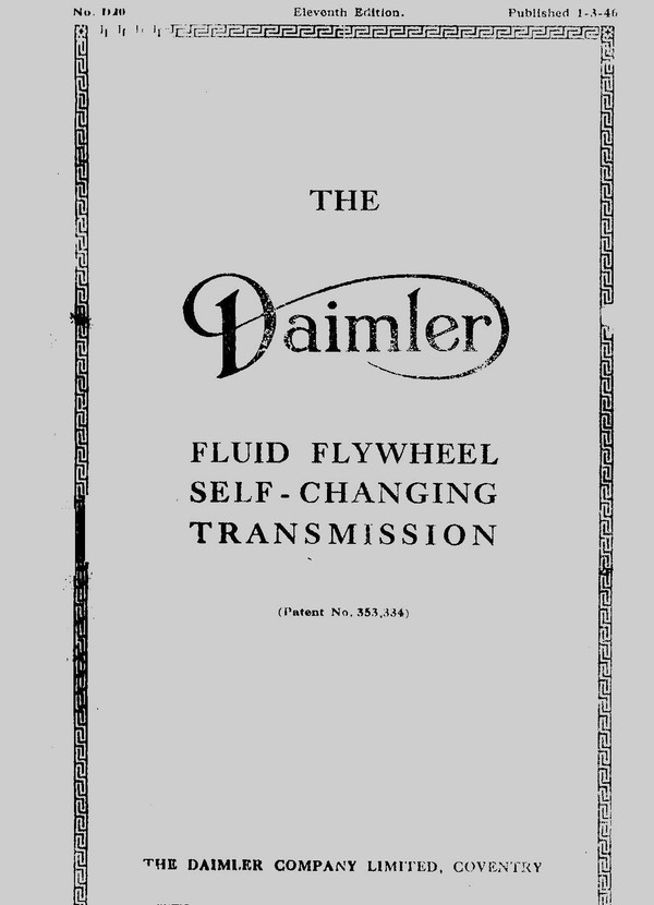 Daimler Self Changing Transmition 1946