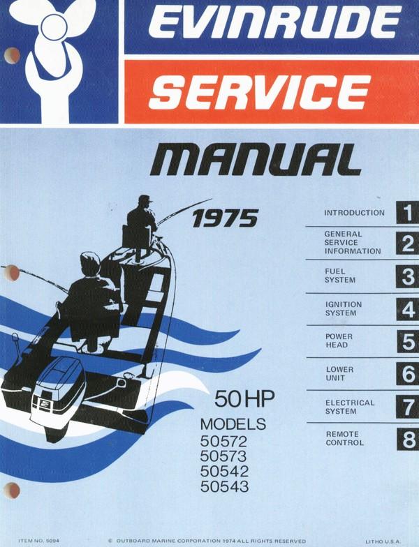 Evinrude Johnson 50 Hp 1975 Models 50572 50573 50542 50543