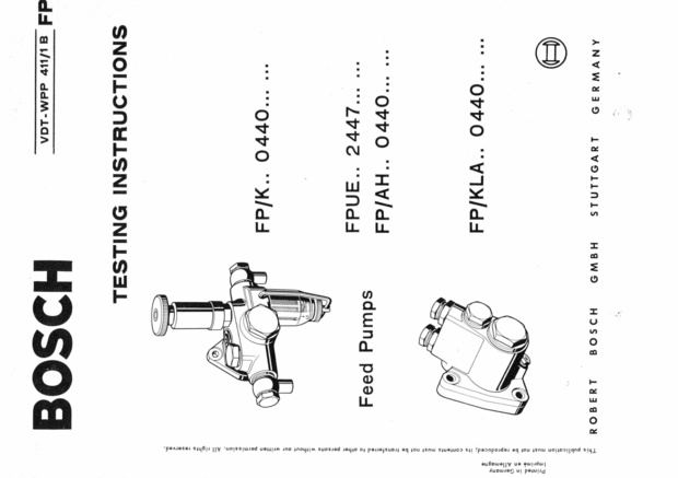 Bosch Vintage Diesel fuel Pump Manuals for Mechanics