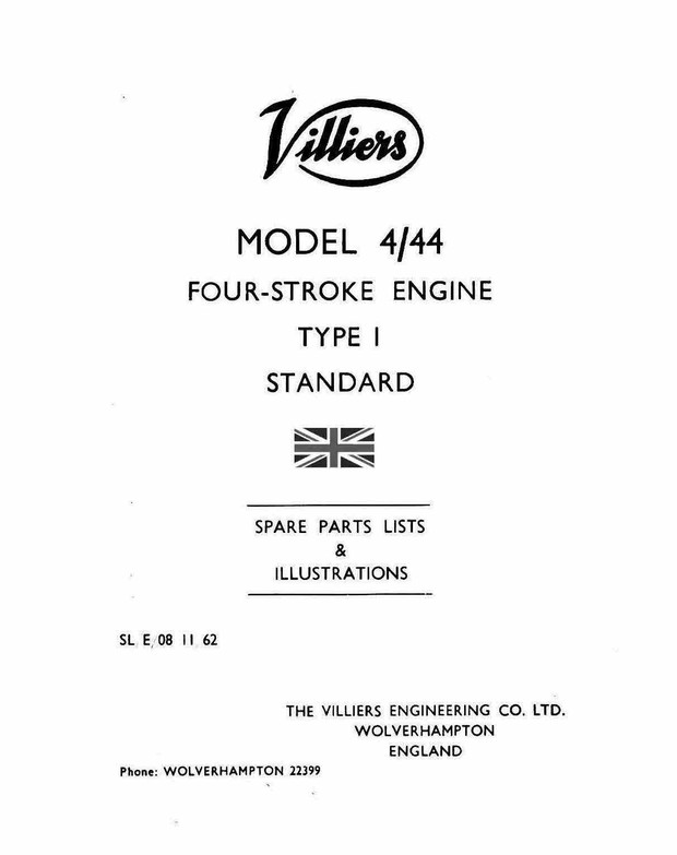 Villiers 4-44 Parts manual 4 stroke stationary engine i