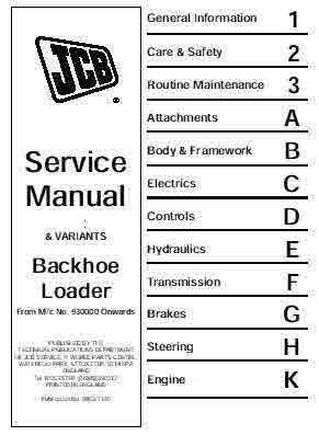 JCB Back Hoe 3CX BHL Excavator Manual
