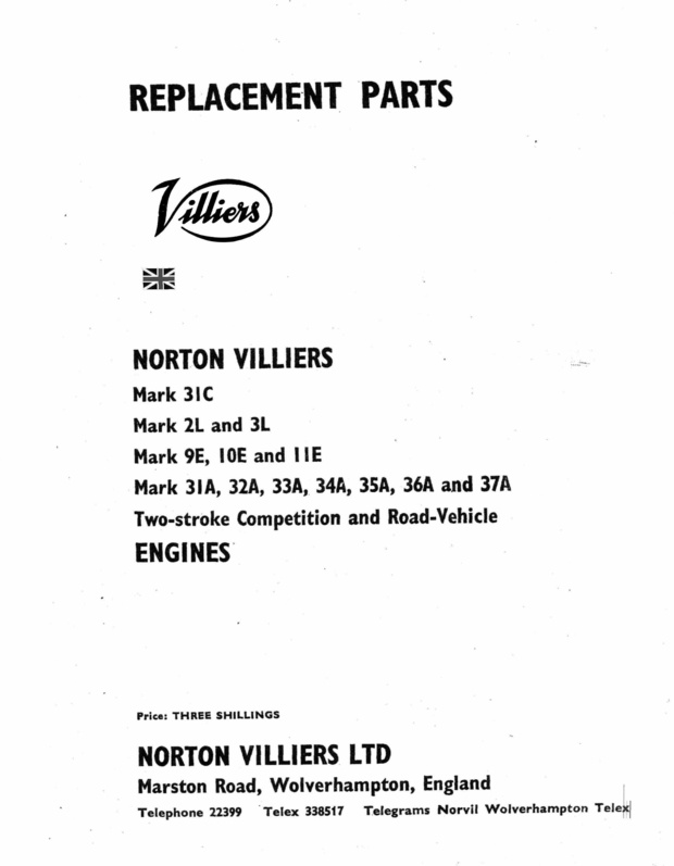 Villiers 31c 2-3L 9-19-11E 31 to 37 A Parts Manual