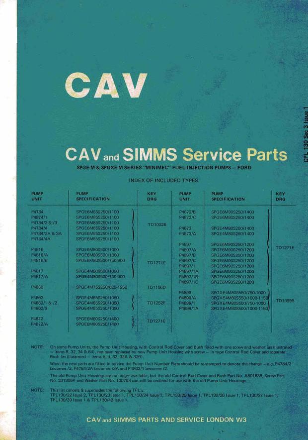 Cav & Simms SPGE-M SPGXE-M INIMEC Injectors Ford parts Manual
