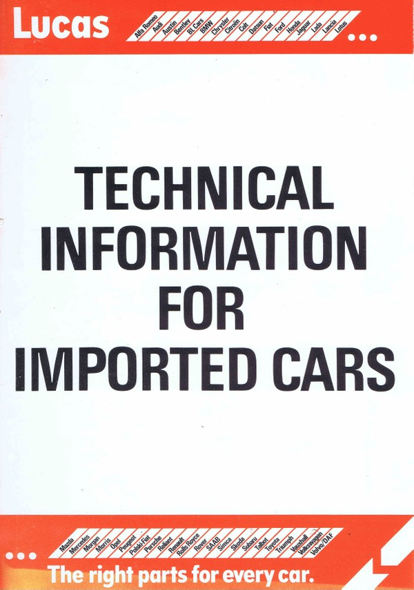 Lucas Electrical Technical information for Imported Cars