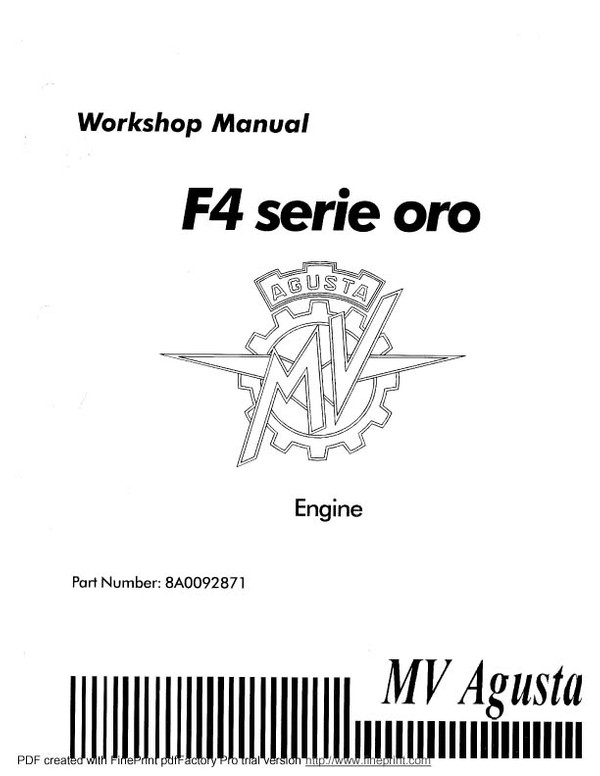 MV Agusta Service manuals for mechanics