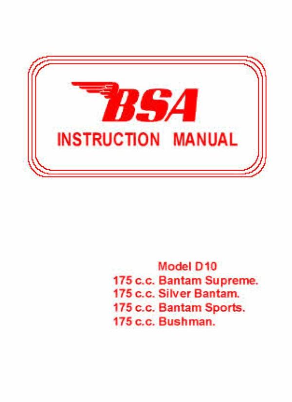 BSA Bantam Manuals Archive