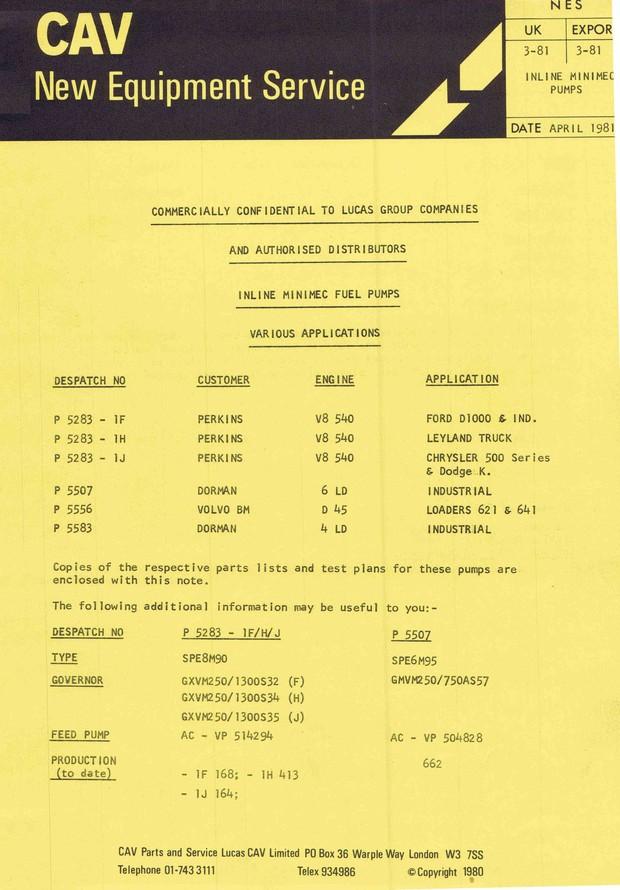 Cav In Line Minimec fuel Pumps Parts manual. DPA DPC DPS