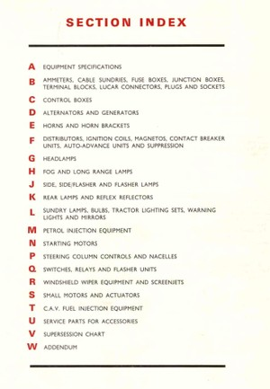 Lucas Electrical '1962 - '1968 Parts Catalog