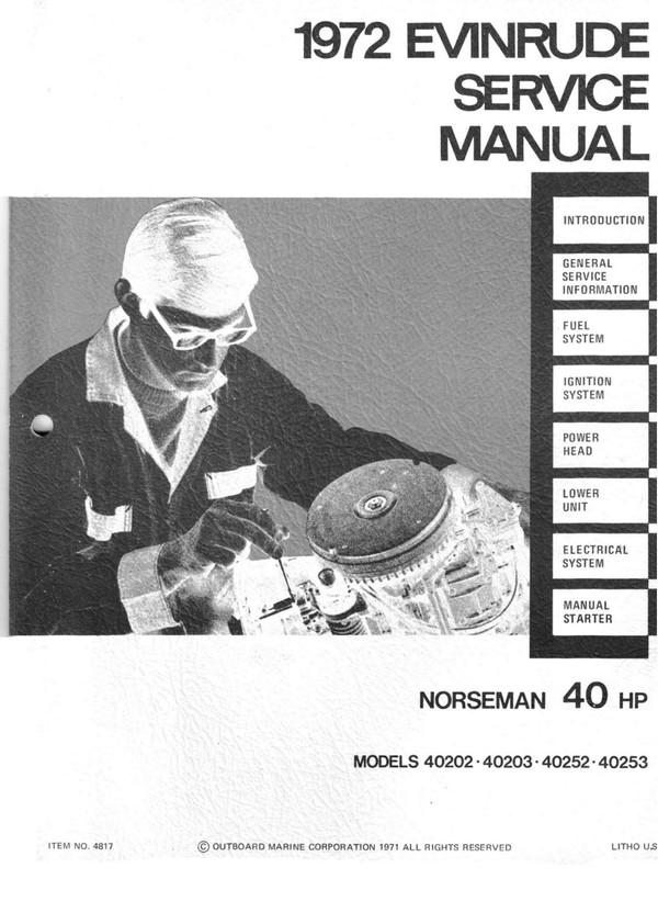 Evinrude 40 hp 1972 Norsman 40202 40303 40252 40253 Service and repair Manual 1973 -40 Hp