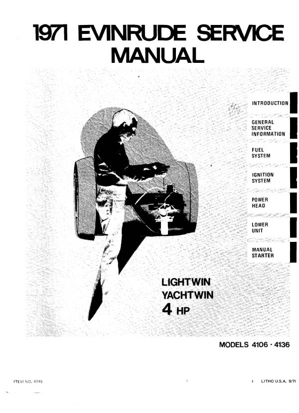 .Evinrude Johnson 4 hp 410 Workshop Manual 1971