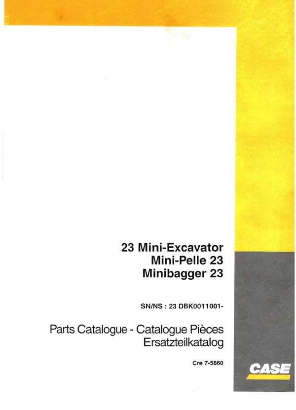 Case 23 Mini Excavator Parts manual