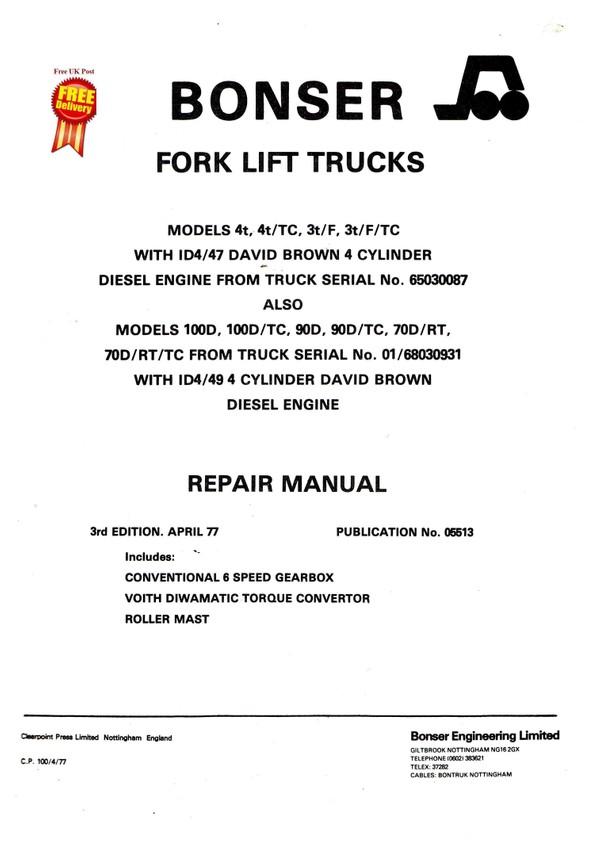 BONSER REPAIR MANUAL 1. RT2500k - RT3500K Series 4WD -  DG2000K - DG2500K