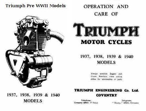 Triunph Motorcycle Vintage Parts Manuals Pre WW2