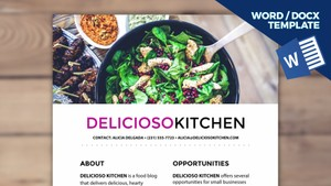 DELICIOSO Blogger Media Kit Template [1-page, .docx file, instant download]