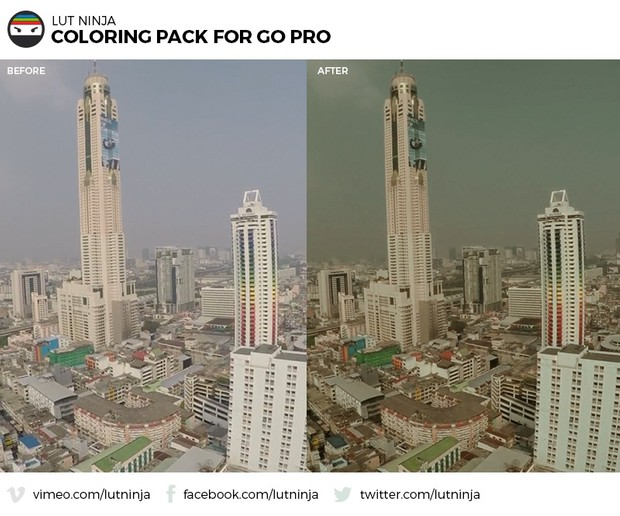 3D LUT Color correction grading files PACK for Go Pro Hero videos by LUT Ninja