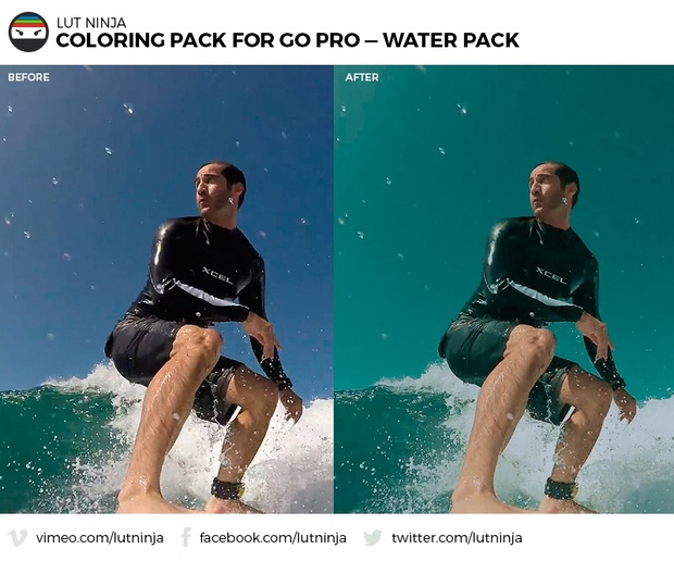 3D LUT Color correction grading files PACK for Go Pro Hero WATER videos