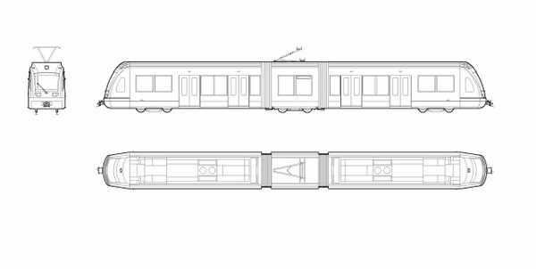 SIEMENS - S70 Light Rail Vehicle (dwg file)
