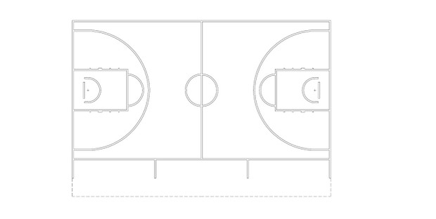 Basketball court - FIBA diagram (dwg file)