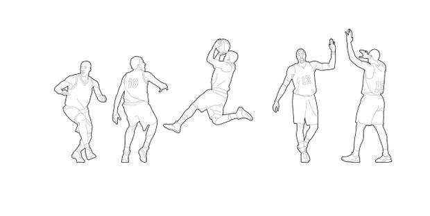 Basketball players - 01 (dwg file)