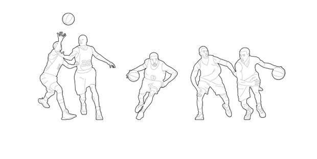Basketball players (dwg file)