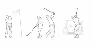 Playing golf (dwg file)