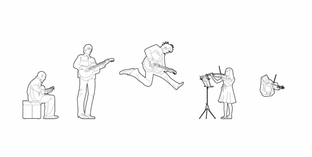 Musicians on stage - 03 (dwg file)