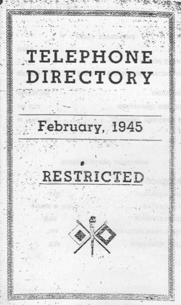 WWII Military Telephone Directory for Brisbane - February 1945