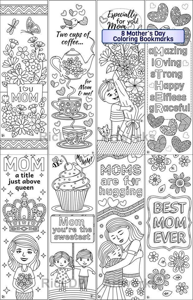 8 Mother\'s Day Coloring Bookmarks - RicLDP Artworks