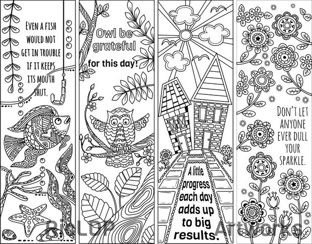 8 Coloring Bookmarks with Quotes - RicLDP Artworks