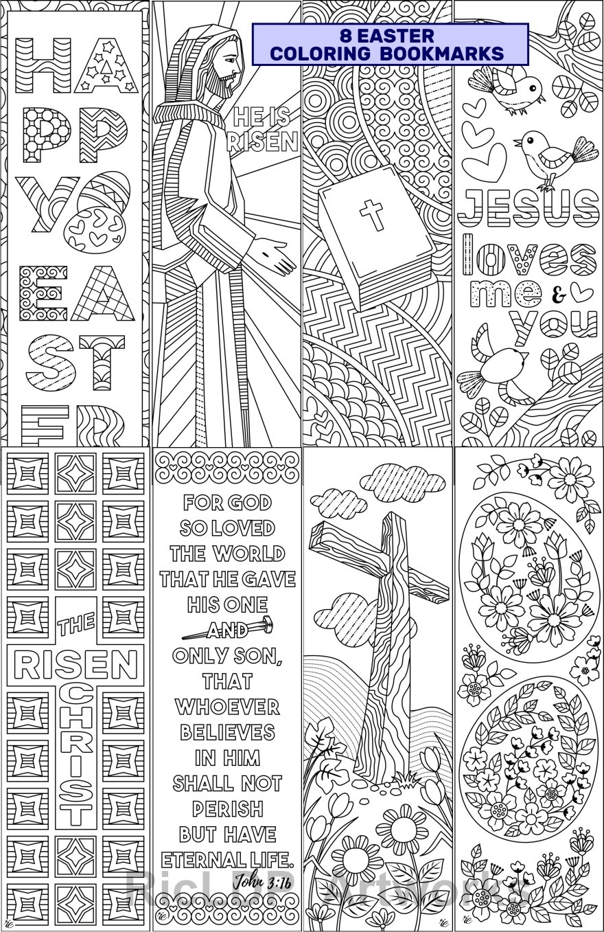 graphic about Printable Bookmarks for Adults identify 8 Easter Coloring Bookmarks