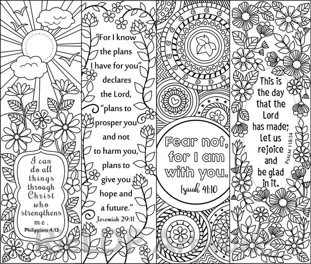 8 Bible Verse Coloring Bookmarks - RicLDP Artworks