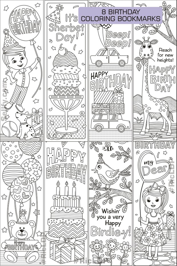 8 Birthday Coloring Bookmarks - RicLDP Artworks