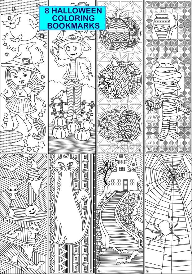 8 Halloween Coloring Bookmarks