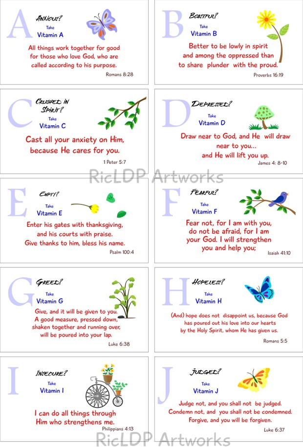 Printable Bible Verse Cards (Spiritual Vitamins A to Z)