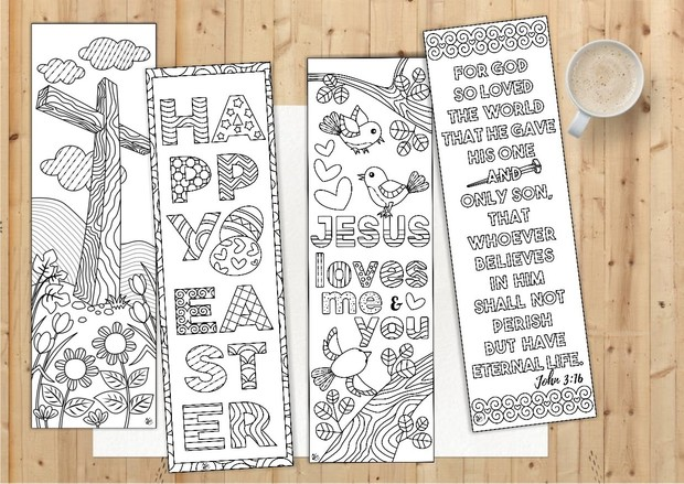 8 Easter Coloring Bookmarks