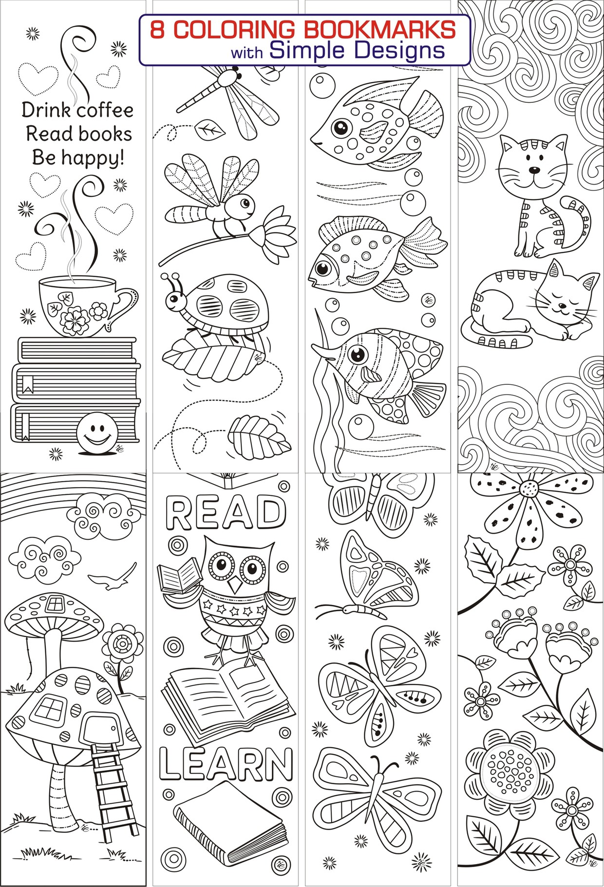 8 Simple Designs Coloring Bookmarks Ricldp Artworks