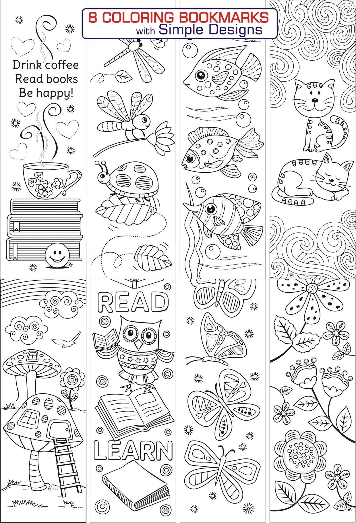 8 Simple Designs Coloring Bookmarks - RicLDP ArtworksTwitterPinterest