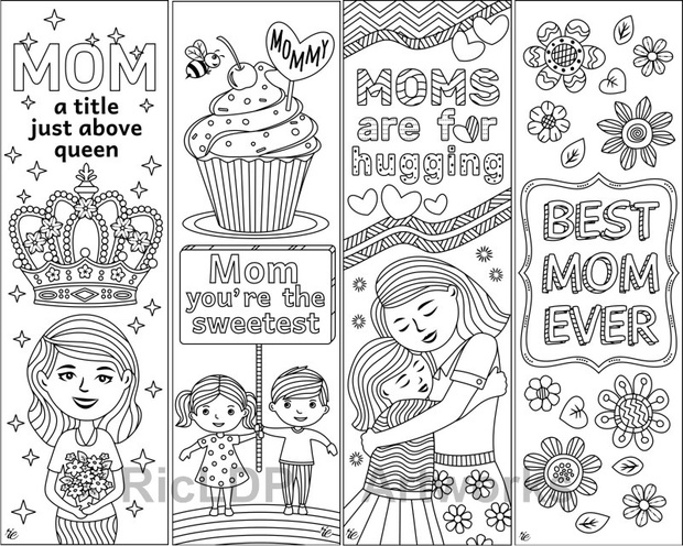 8 Coloring Bookmarks for Moms on Mother's Day