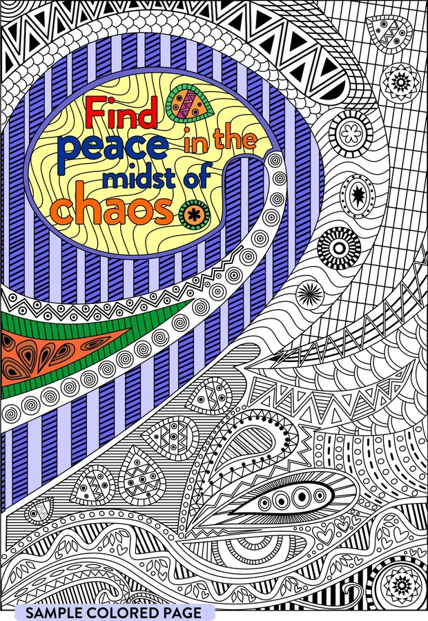 Find Peace in the Midst of Chaos coloring page for Adults