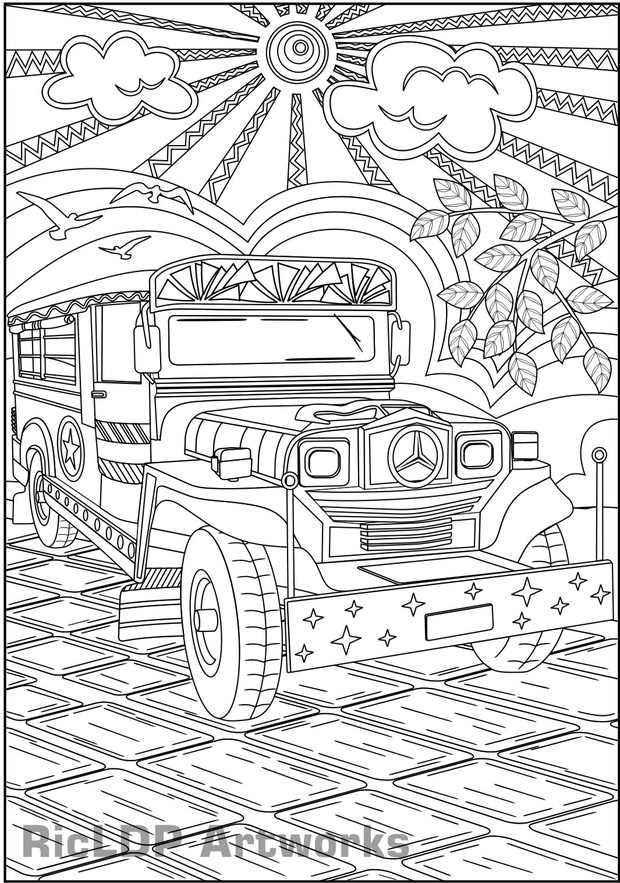 Enjoy the Ride - Philippine Jeepney Coloring Page